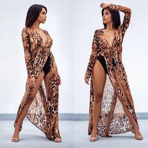 Leopard Long Sleeve Thigh Slit Maxi Top
